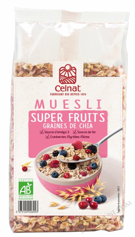 CELNAT Muesli Super Fruit Graines de Chia BIO - 375g