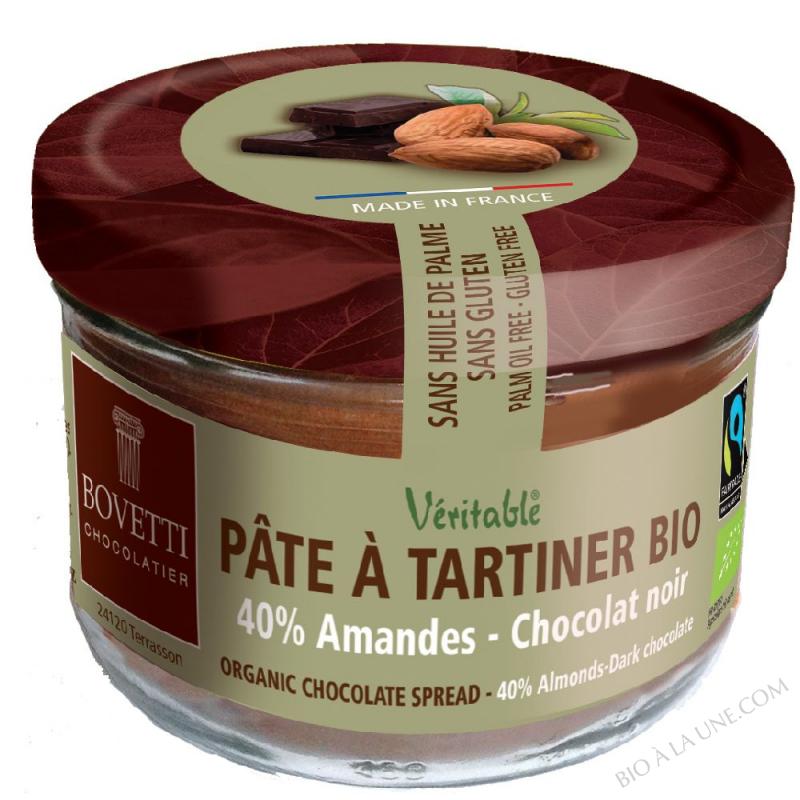 Pâte à tartiner bio Amandes Chocolat Noir 350g Bovetti