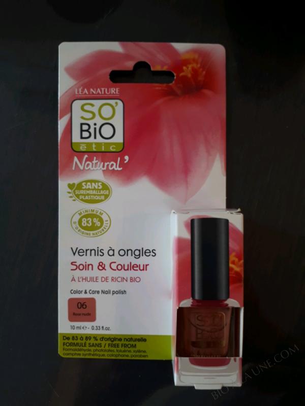 VERNIS À ONGLES 06 ROSE NUDE - SOIN ET COULEUR - À L'HUILE DE RICIN - 10 ml
