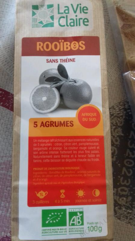 ROOÏBOS 5 AGRUMES - LA VIE CLAIRE - 100G
