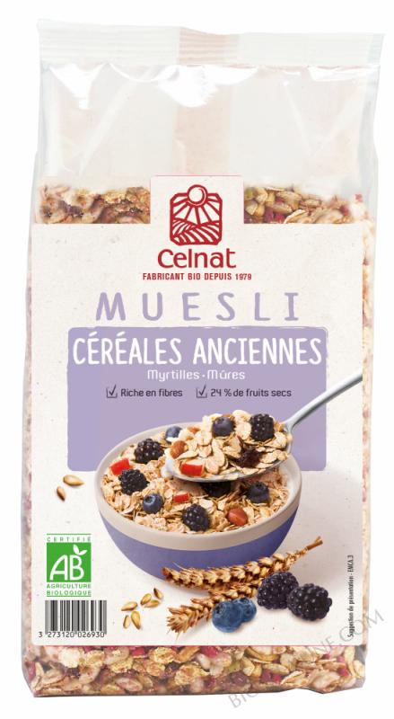 CELNAT Muesli aux Céréales Anciennes, myrtilles & mûres BIO - 375g