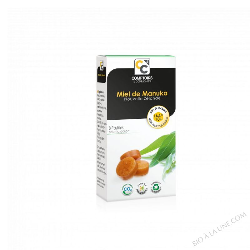 PASTILLES MIEL DE MANUKA IAA10+ ET ARÔME EUCALYPTUS MENTHOL Complément alimentaire