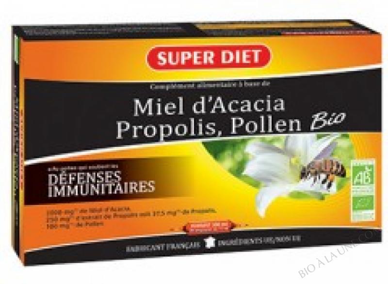 MIEL D'ACACIA PROPOLIS POLLEN BIO - 30 AMPOULES DONT 50% OFFERT