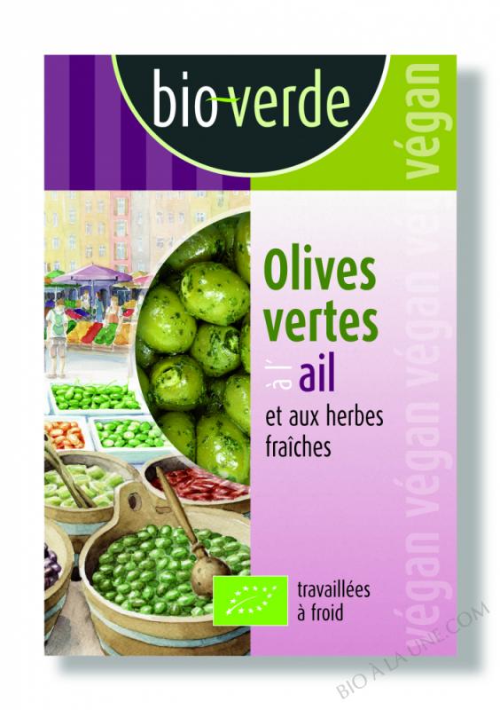 OLIVES VERTES À L\'AIL ET AUX HERBES FRAÎCHES 150G