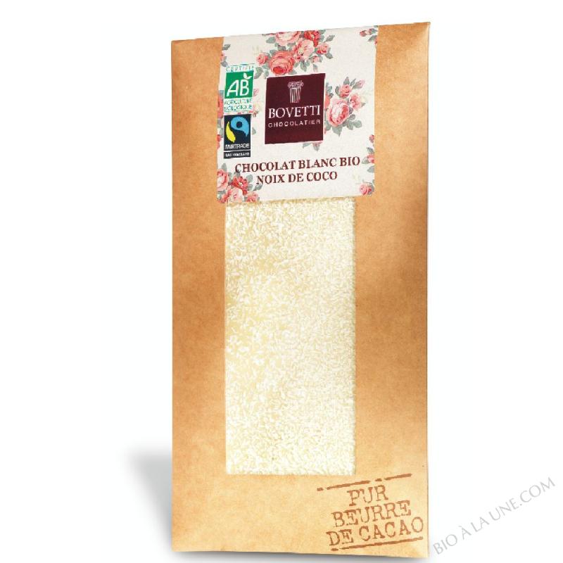 Tablette de Chocolat Blanc bio à la noix de coco 100g Bovetti