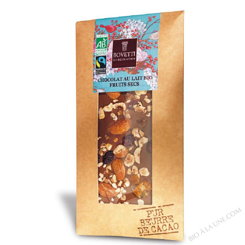 Tablette de Chocolat au Lait bio aux Fruits Secs 100g Bovetti