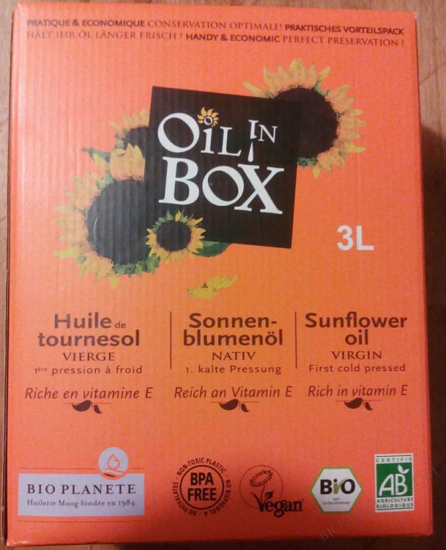 Huile de tournesol vierge biologique/Sonnenblumenoel nativ.