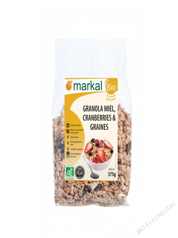 GRANOLA MIEL CRANBERRIES GRAINES – 375G