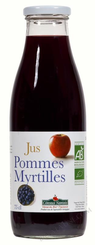 Jus pommes myrtilles Bio 75cl