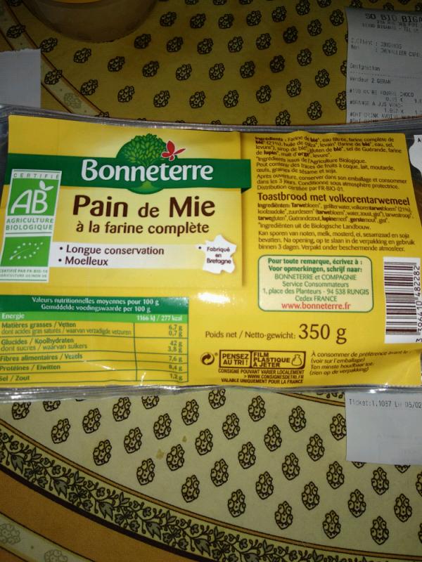 PAIN DE MIE A LA FARINE COMPLETE - 350 G