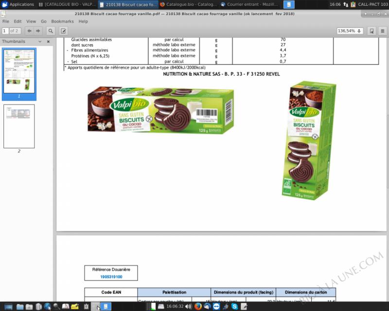 biscuit cacao vanille 125g