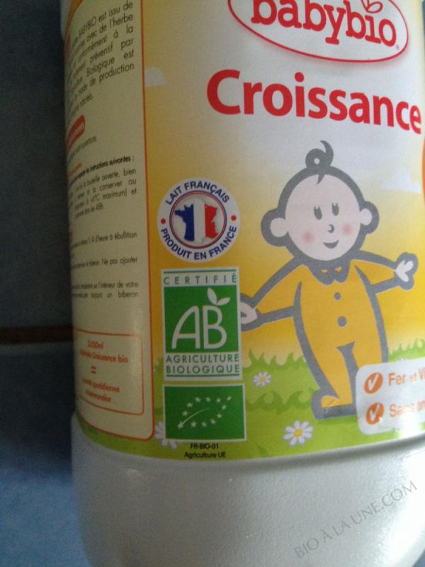 LAIT CROISSANCE 1L BABYBIO