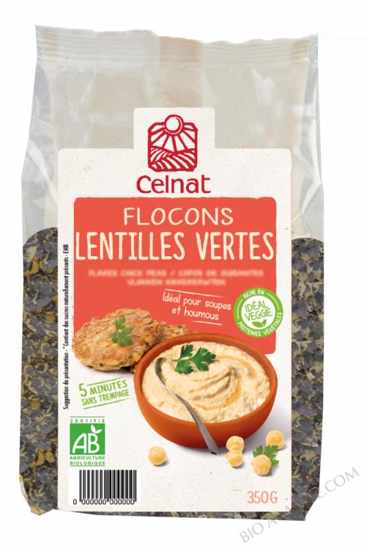 CELNAT Flocons de lentilles vertes BIO - 350g