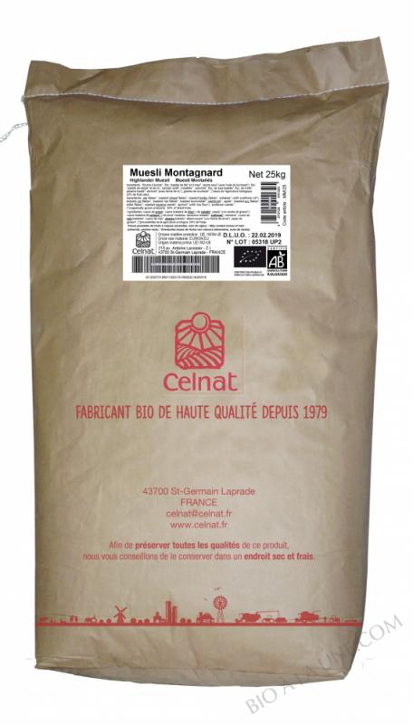 CELNAT Muesli Montagnard®, raisins,noisettes & abricots BIO - 25kg