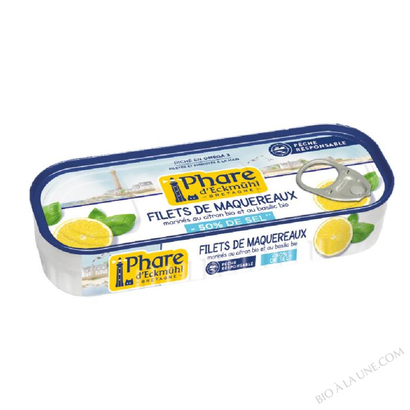 Filets de maquereaux citron et basilic bio -50% de sel