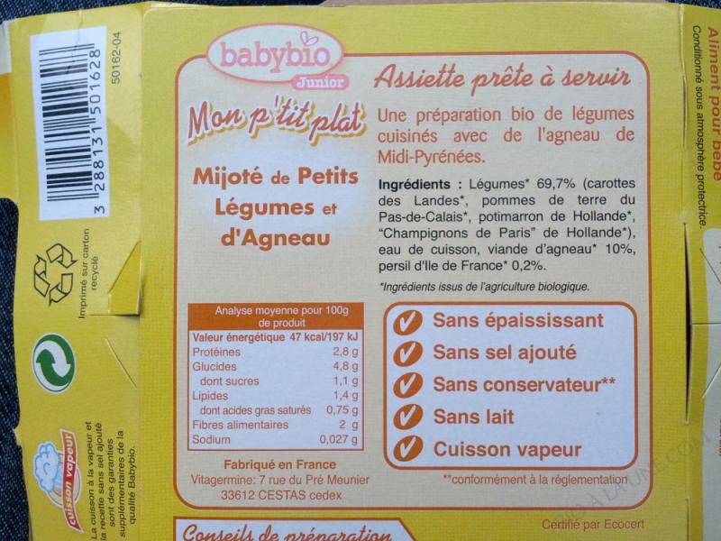 Assiette Petits Legumes Agneau Dès 12 mois 230g