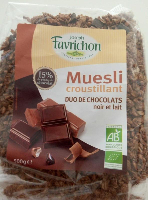 J.Favrichon Muesli croustillant duo de chocolats sans gluten Sachet refermable