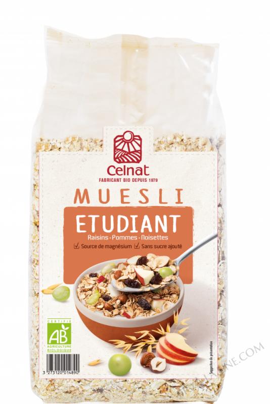 CELNAT Muesli Etudiant ® raisins, pommes & noisettes BIO - 500G