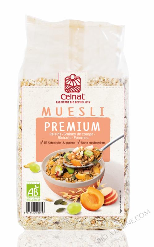 CELNAT Muesli Premium BIO , raisins, graines de courge, abricots, pommes - 375g