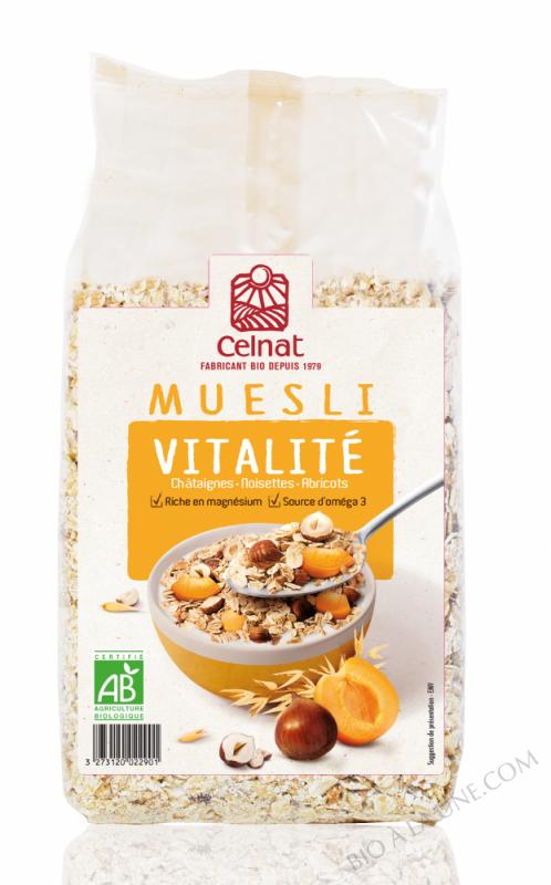 CELNAT Muesli Vitalité, chataignes, noisettes & abricots BIO - 375g
