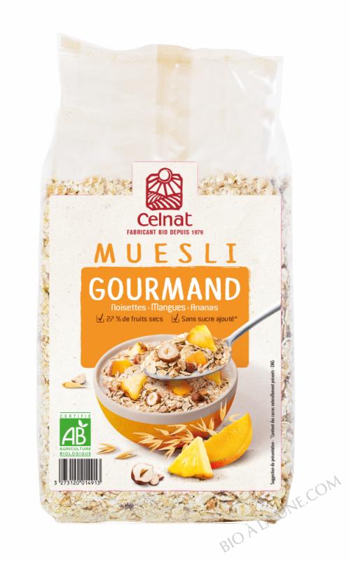 CELNAT Muesli Gourmand®, noisettes, mangues & ananas BIO - 500g