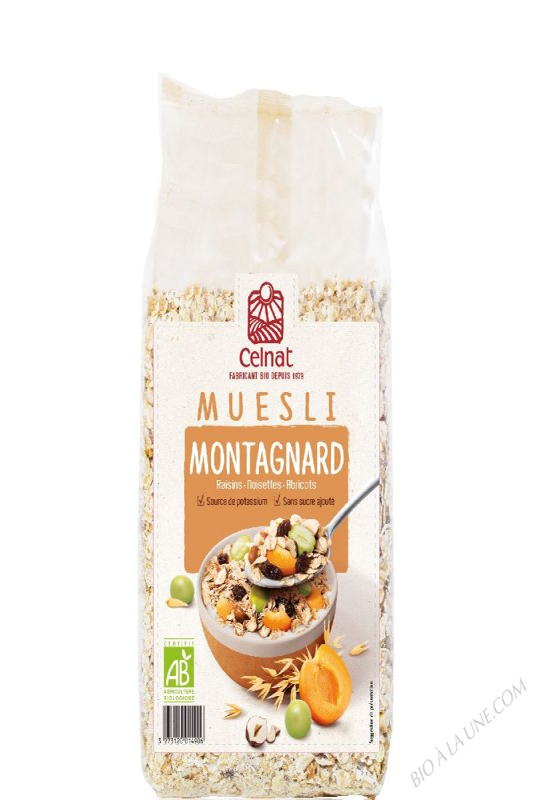CELNAT Muesli Montagnard®, raisins,noisettes & abricots BIO - 500g