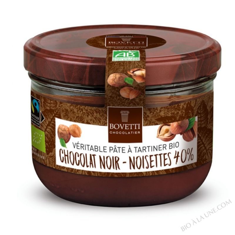 Pâte à tartiner bio Noisettes Chocolat Noir 350g Bovetti