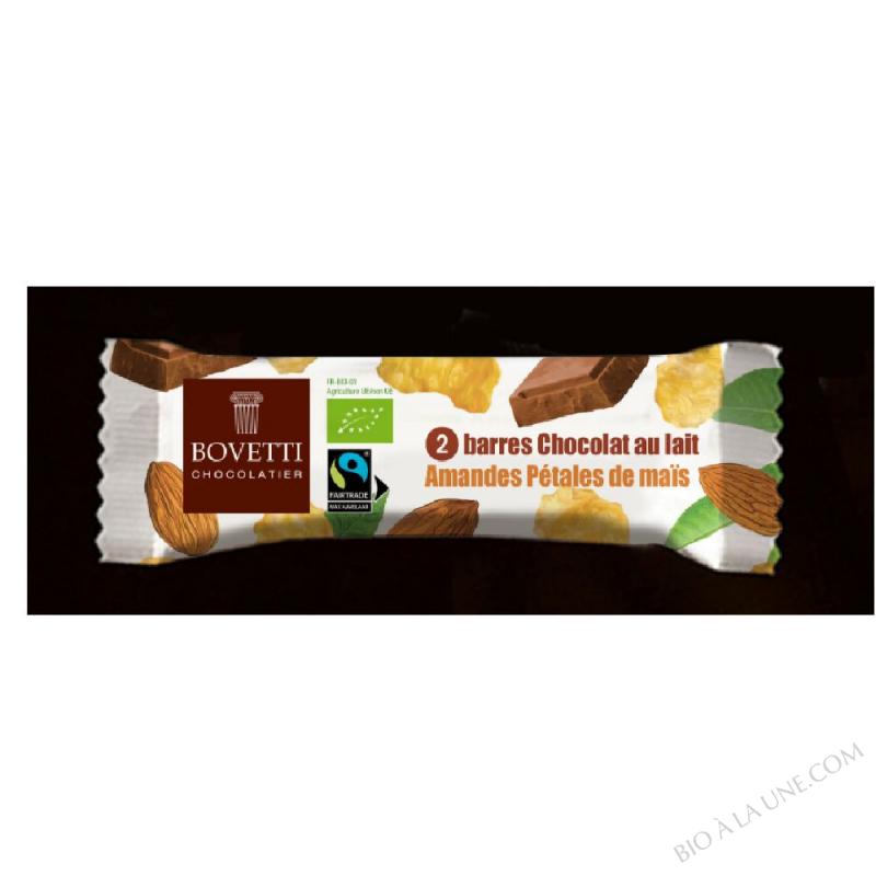 Barre Snacking bio Chocolat au Lait Amandes et Pétales de Maïs Bovetti