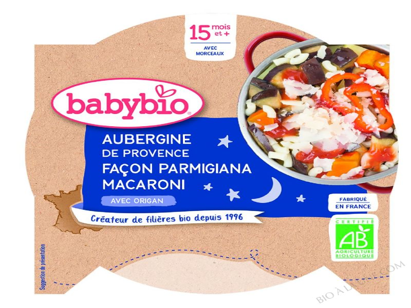 Assiette Aubergines Macaroni Dès 15 mois