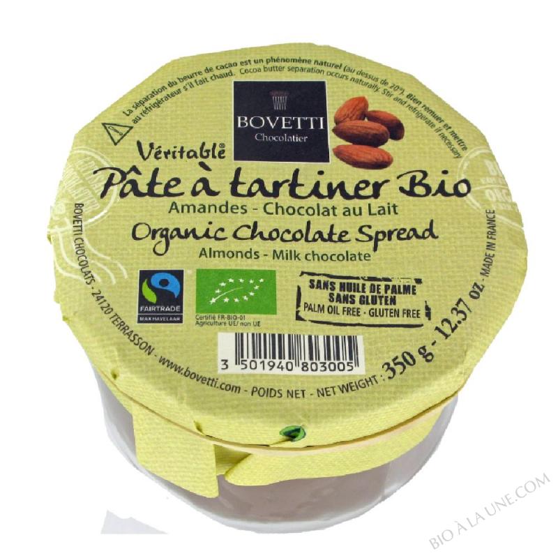 Pâte à tartiner bio Amandes Chocolat au Lait 350g Bovetti