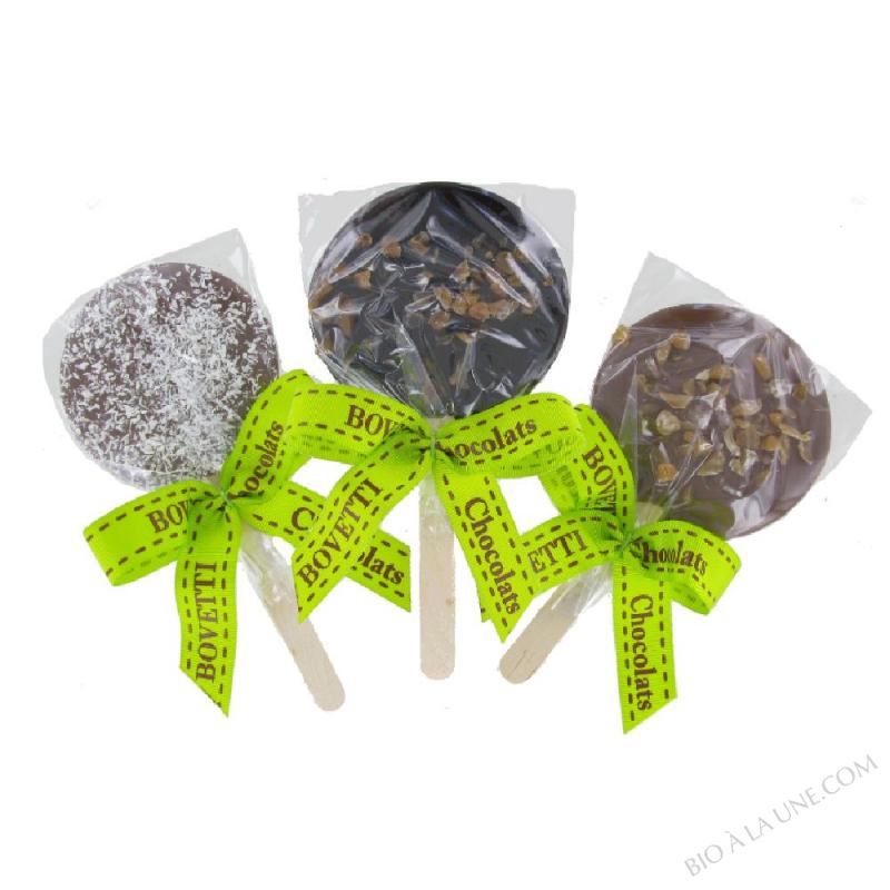 Assortiment de sucettes en chocolat (Noir caramel & sel, Lait caramel & sel, et lait noix de coco)
