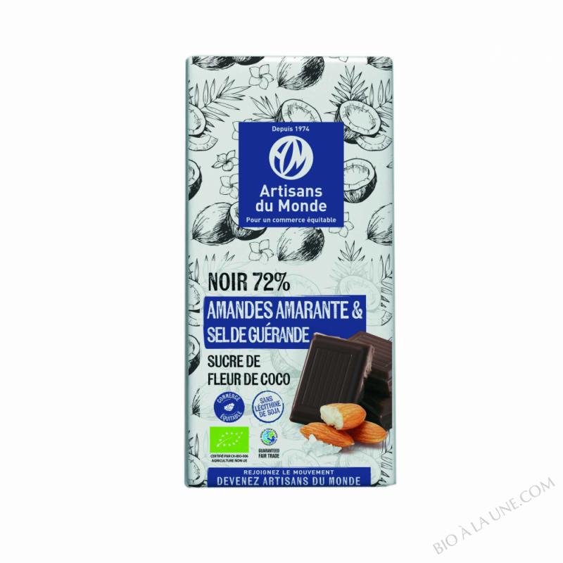 CHOCOLAT NOIR AMANDES, AMARANTE ET SEL DE GUÉRANDE - 100G