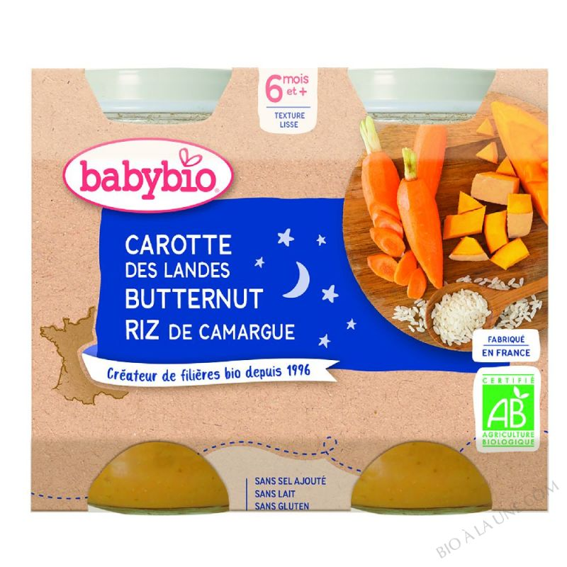 BABYBIO Pot Bonne Nuit Carotte Courge Butternut Riz