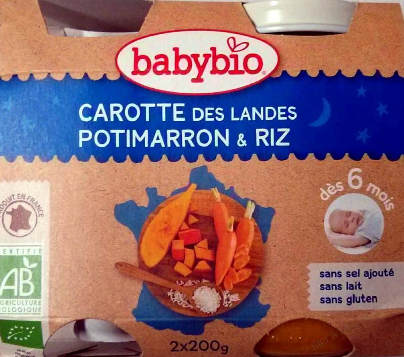 Petits pots Carottes Potimarron Riz 6 mois 2x200g