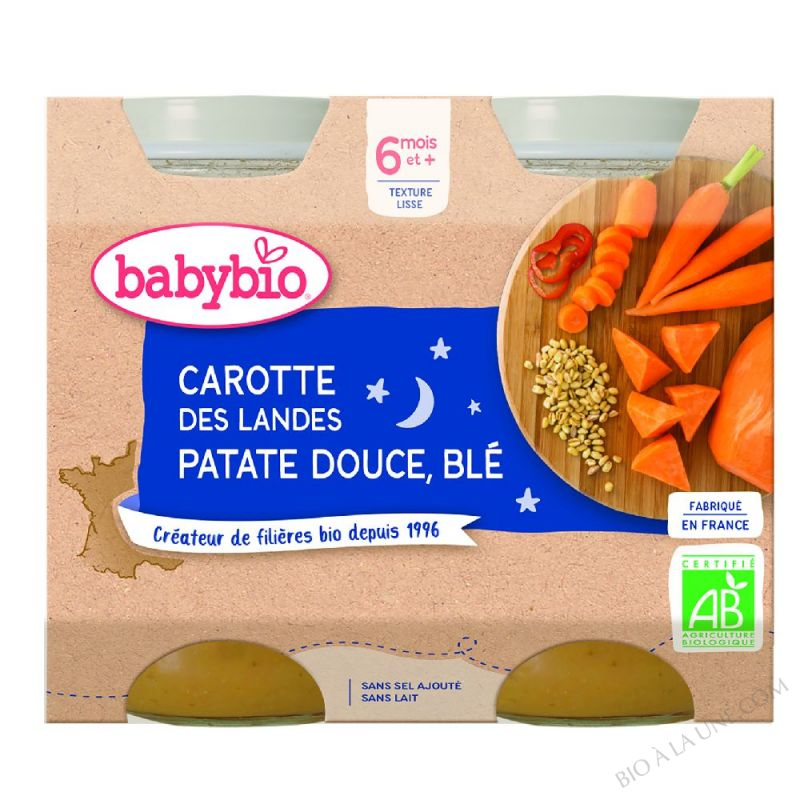 BABYBIO Pot Bonne Nuit Carotte Patate douce Blé