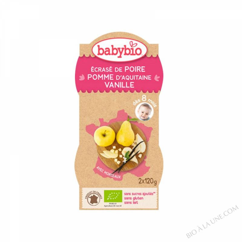 Bols Ecrase Poire Pomme Vanille des 8 mois 2x120g