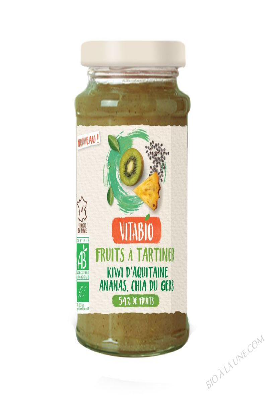 VITABIO Fruits à tartiner Kiwi d'Aquitaine Ananas Chia du Gers