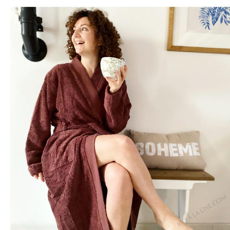 Peignoir Coton 100 % Biologique, Taille L/XL, Couleur Amarante