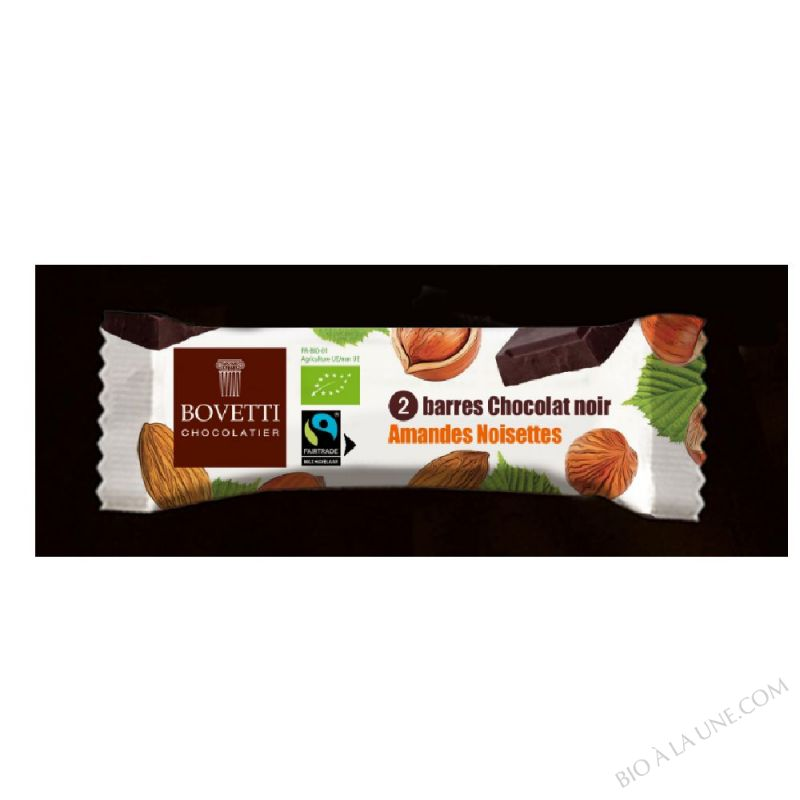 Barre Snacking bio Chocolat Noir Amandes & Noisettes Bovetti
