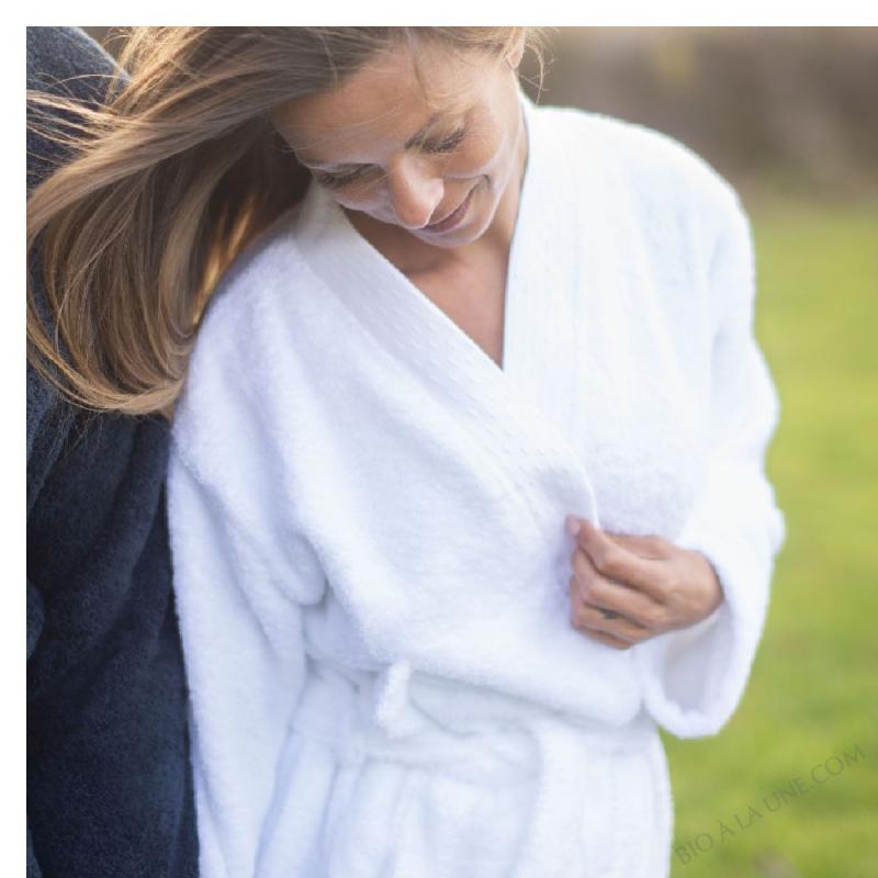 Peignoir Coton 100 % Biologique, Taille S/M, Couleur Blanc Pur
