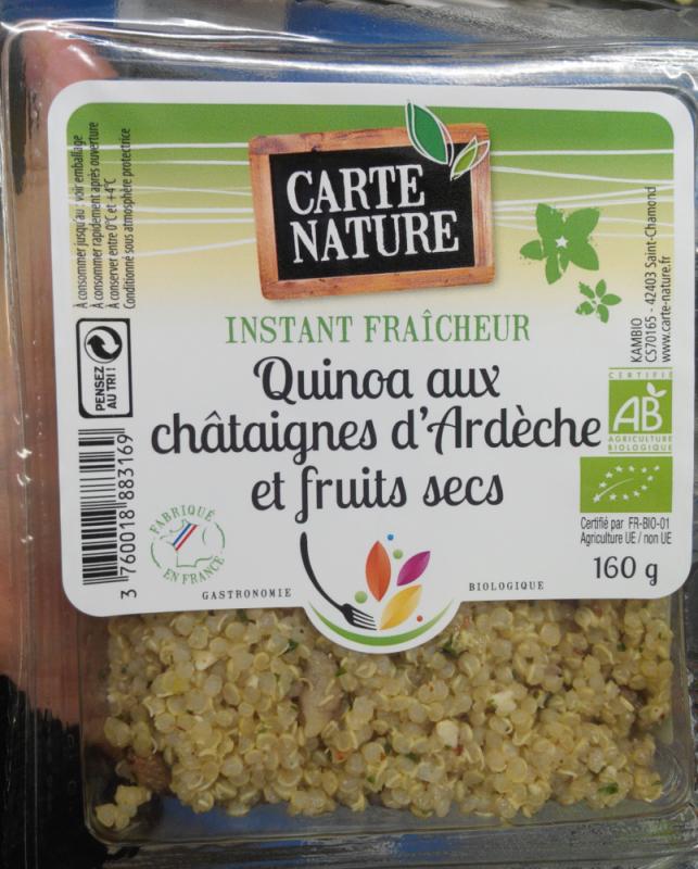 QUINOA AUX CHÂTAIGNES D'ARDÈCHE ET FRUITS SECS - 160GR
