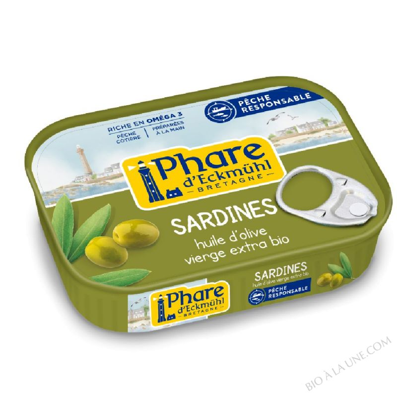 Sardines de Bretagne à l'huile d'olive bio 135g