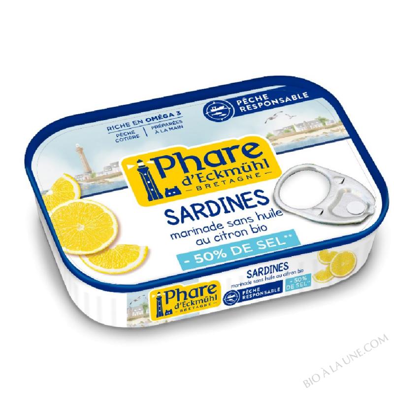 Sardines à l'huile d'olive et au citron bio 135g