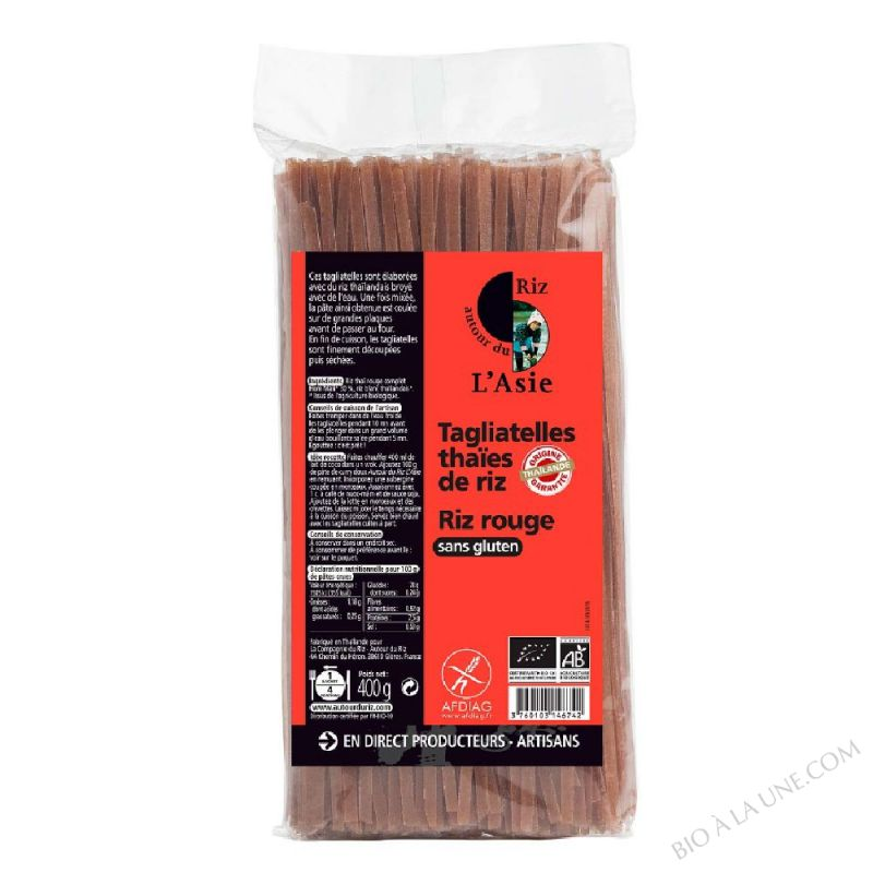 Tagliatelles thaïes de riz rouge 400g