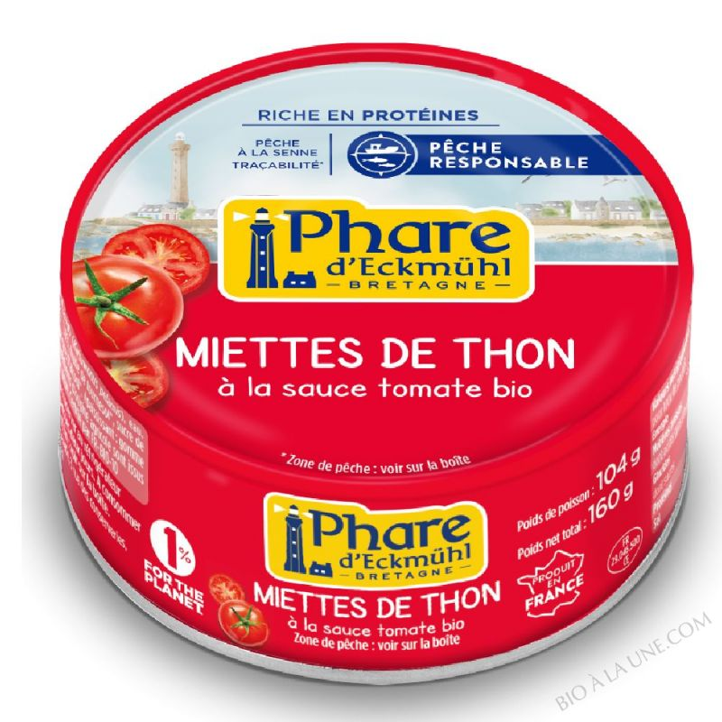 Miettes de thon à la tomate bio 160g