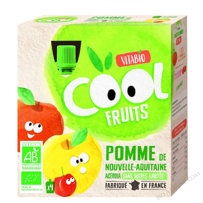 Compote Cool Fruits Pomme 4x90g