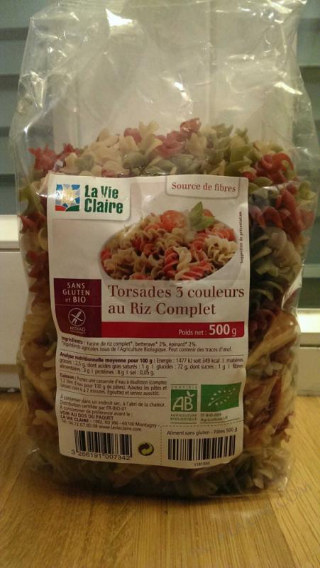 Torsades riz complet 3 couleurs sans gluten - 500g