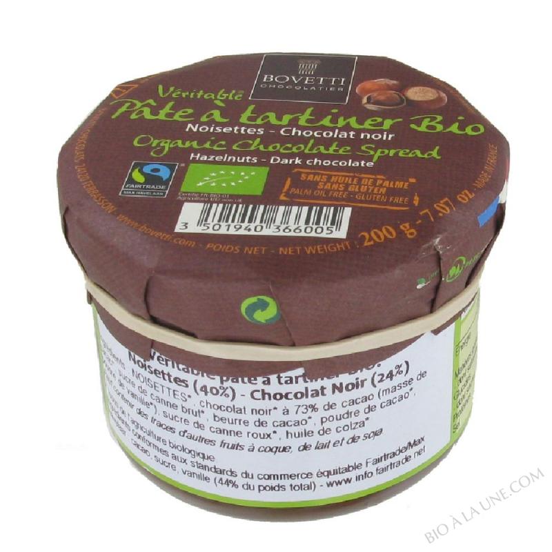 Pâte à tartiner bio Noisettes Chocolat Noir 200g Bovetti