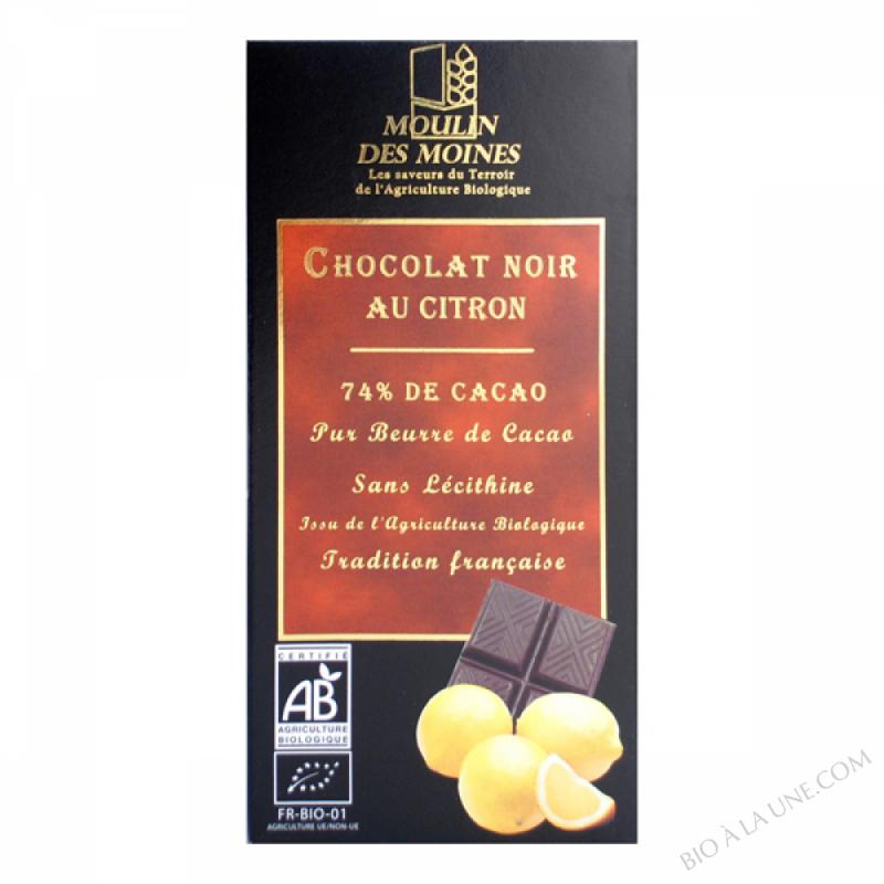 Chocolat noir 74% bio au citron - 100g