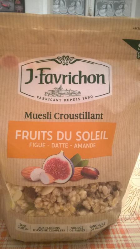 J.Favrichon Muesli Croustillant Fruits du Soleil sans gluten Sachet refermable